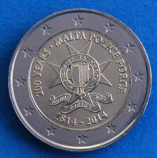 """Malta 2 Euro 2014 """"200 Jahre Polizei"""" unc."""